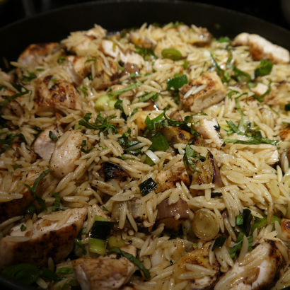 Spring Leek, Chicken and Orzo Salad, Maria Reina