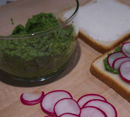 Radish Green Pesto, Maria Reina, Seasonal Chef