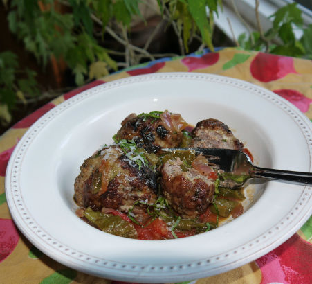 Meatballs with Chunky Frying Peppers and Tomatoes, Maria Reina, Seasonal Chef