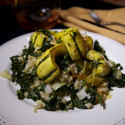 Roasted Delicata Squash, Kale and Quinoa, Seasonal Chef, Maria Reina