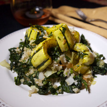 Roasted Delicata Squash, Kale and Quinoa Salad, Seasonal Chef Maria Reina recipe