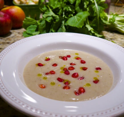 Jerusalem Artichoke, Celery Root and Pomegranate Soup, Seasonal Chef, Maria Reina