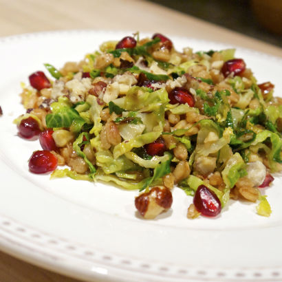 Brussels Sprout, Farro and Pomegranate Salad, Seasonal Chef Maria Reina