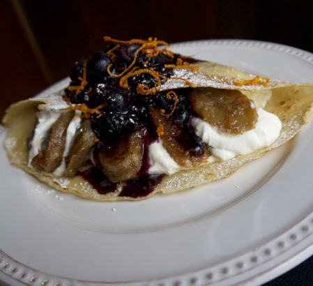 Caramelized Banana and Blueberry Crepe