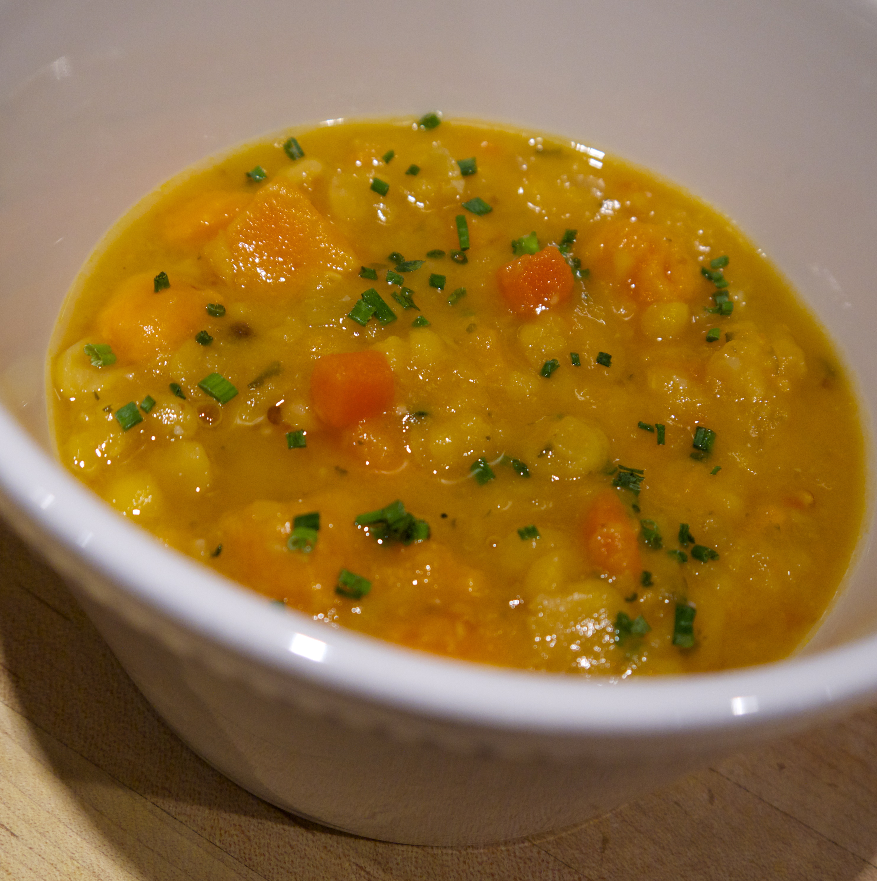 ... Cooking » Sweet and Spicy Yellow Split Pea Soup: Seasonal Chef Recipe