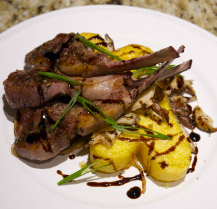 Grilled Herbs de Provence Lamb, Polenta and Sautéed Shiitakes, Seasonal Chef, Maria Reina