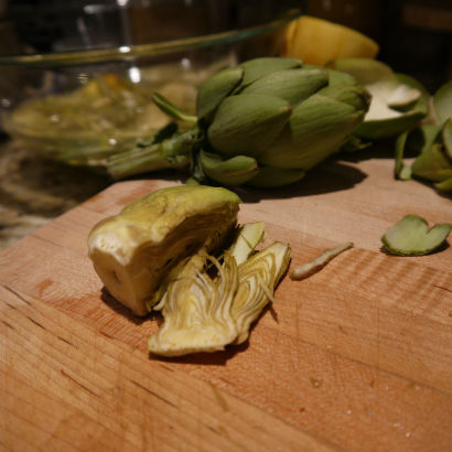 Sliced baby artichokes