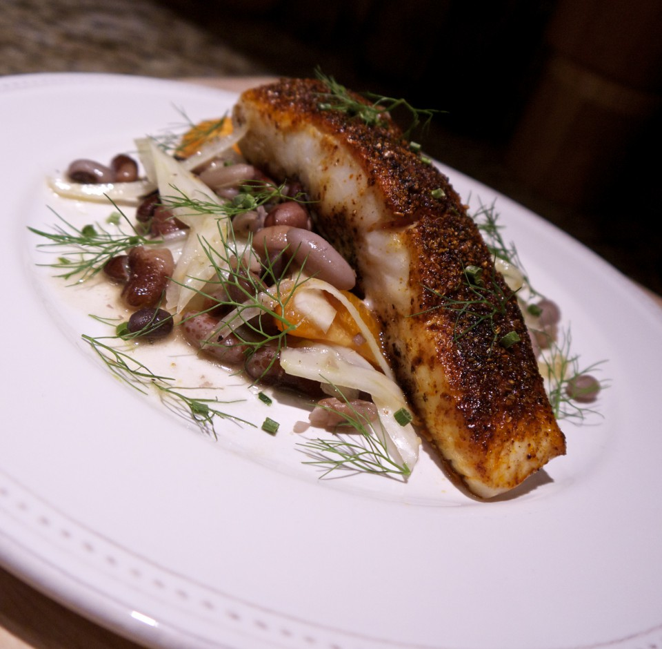 Seasonal Chef, Maria Reina, Spice-crusted Halibut over 10 Bean, Fennel and Orange Salad