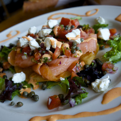 Smoked Salmon Tostada, Beehive in Armonk