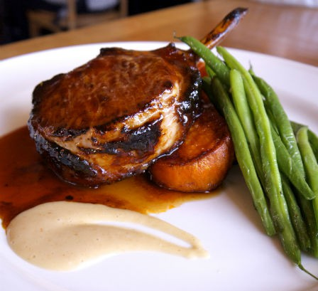 Double-cut Berkshire Pork Chop with Maple Brown Sugar Glaze, Candied Sweet Potato and Haricot Verts, Beehive in Armonk