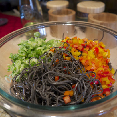 Balck Bean Pasta ingredients, Seasonal Chef, Maria Reina
