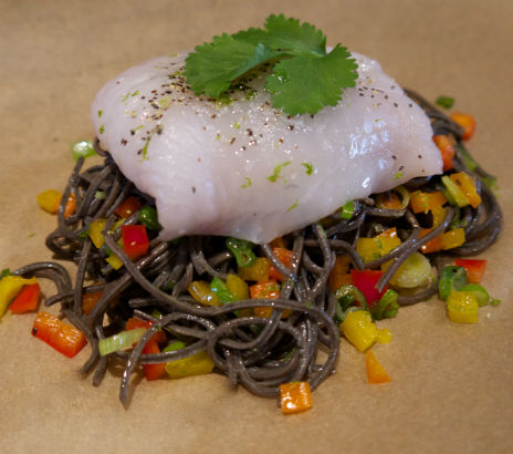 Black Bean Pasta with Pepper and Scallion, Seasonal Chef, Maria Reina