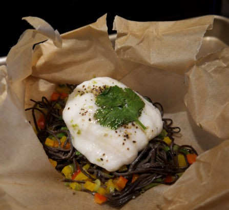 Flounder with Black Bean Pasta in Carotccio, Maria Reina, Seasonal Chef