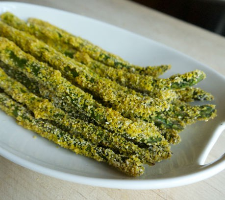 Cornmeal-crusted Asparagus, Seasonal Chef, Maria Reina