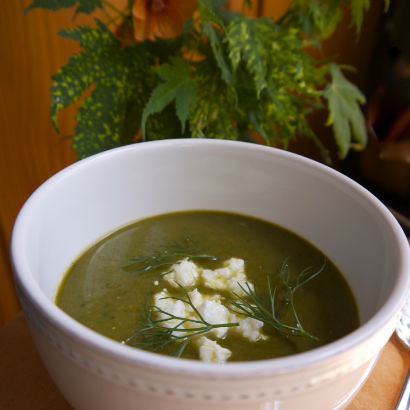 Mustard Greens and Spring Vegetable Soup by Maria Reina, Seasonal Chef