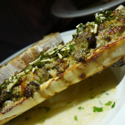 Meatball filled marrow bone