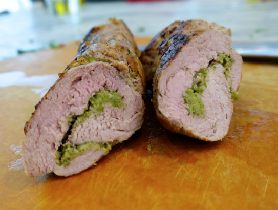Pork Tenderloin Roulade with Garlic Scape Pesto