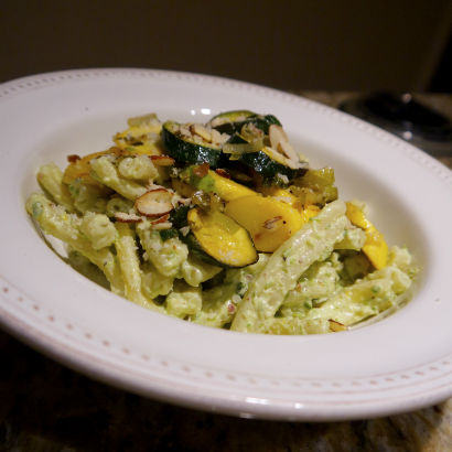 Garlic Scape Pesto Pasta with Sautéed Summer Squash