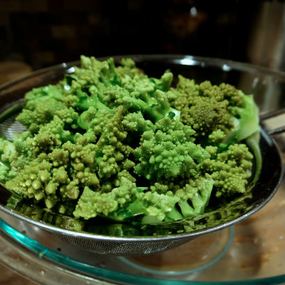 Blanched romanesco