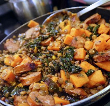 Lentils with Chorizo and Sweet Potato