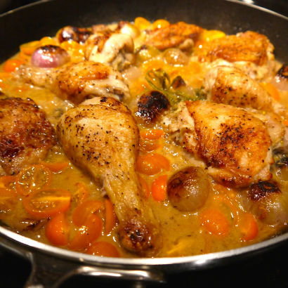 Chicken with shallot and wine