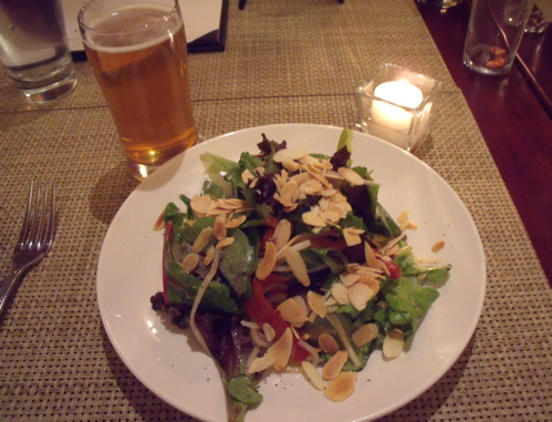 Mixed Green Salad paired with Ithaca Apricot Wheat
