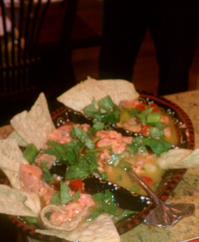 Salmon Ceviche on a plate with chips