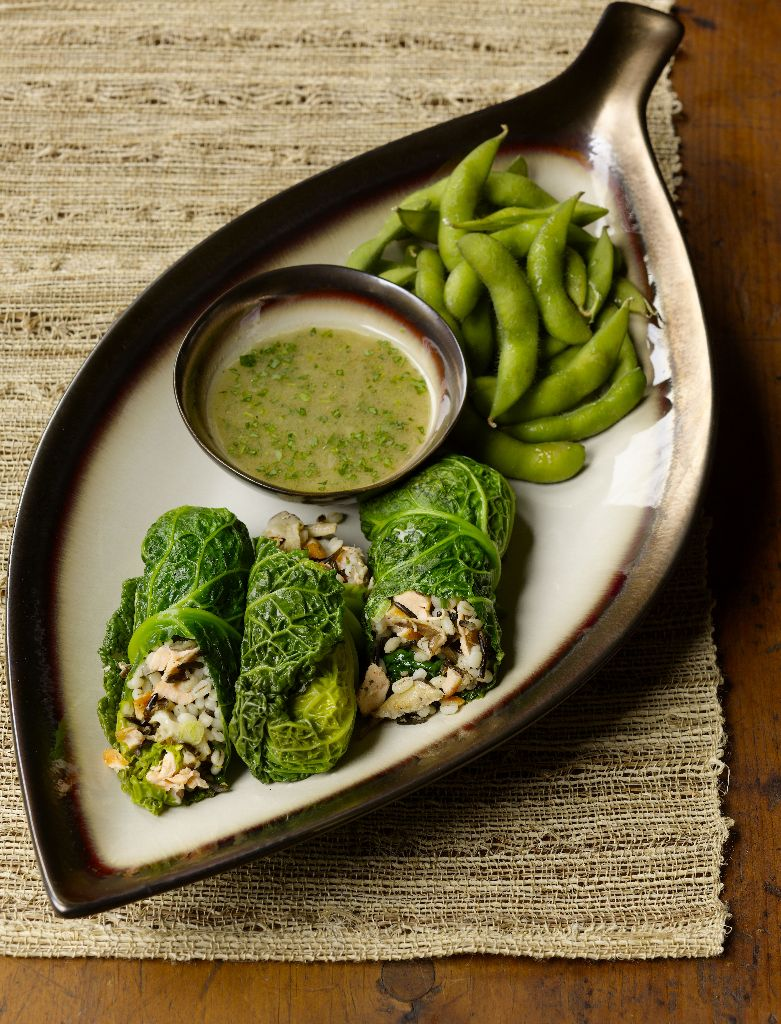 CIA's Salmon and Wild-Rice Stuffed Cabbage with Edamame and Tarragon Dipping Sauce