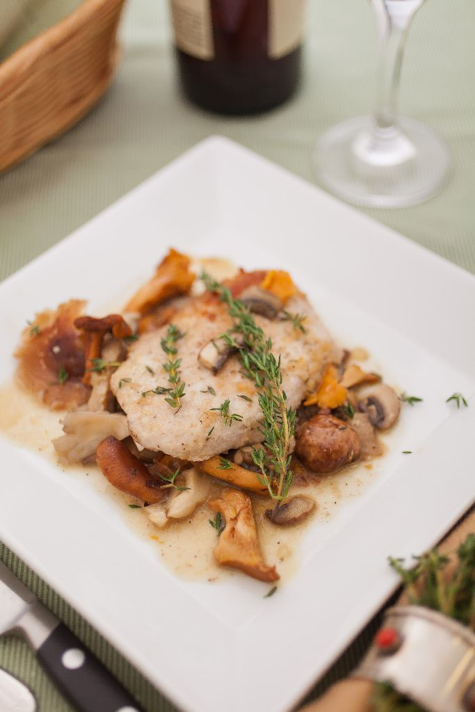CIA's Sautéed Pork Cutlets with Wild Mushroom Ragoût: Photo Credit: CIA/Phil Mansfield