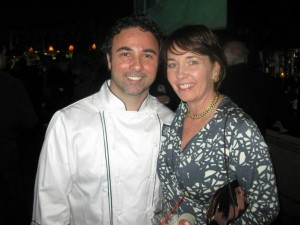 Chef Vincent Barcelona of Harvest on Hudson and Valley Table publisher Janet Crawshaw at Hudson Valley Restaurant Week