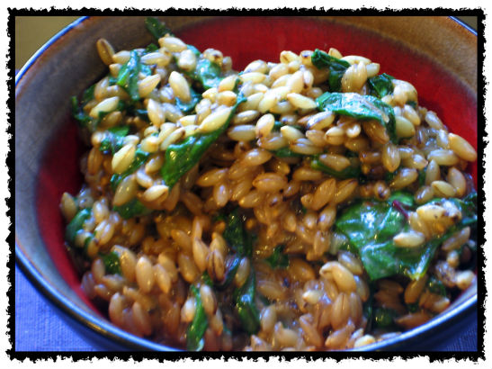 Barley with greens.