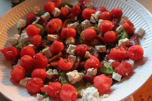 Recipe: Watermelon-Tomato Salad with Herbs and Feta