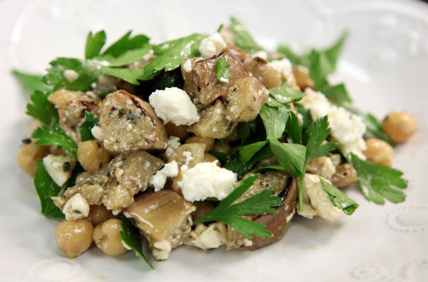Grilled Eggplant, Chick Pea and Feta Salad: Seasonal Chef Recipe