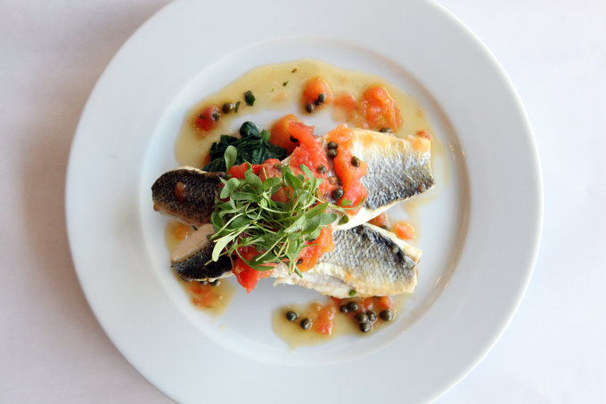 Steamed Branzino with Tomato-Caper Sauce