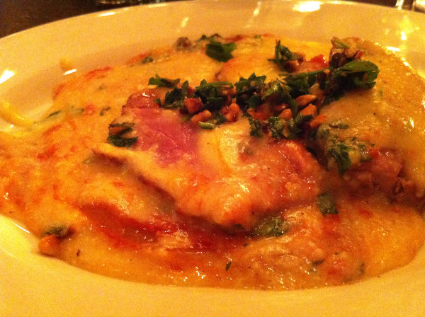Coming to Fortina in Armonk: Polenta with pecorino and bone marrow butter with spicy duck ragu, sliced roasted duck breast and hazelnut gremolata.