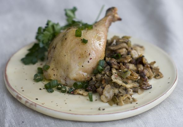 Herbed Matzo-Stuffed Roasted Chicken