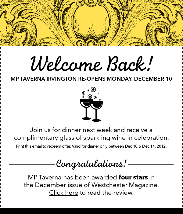 Coupon for free glass of sparkling wine at MP Taverna