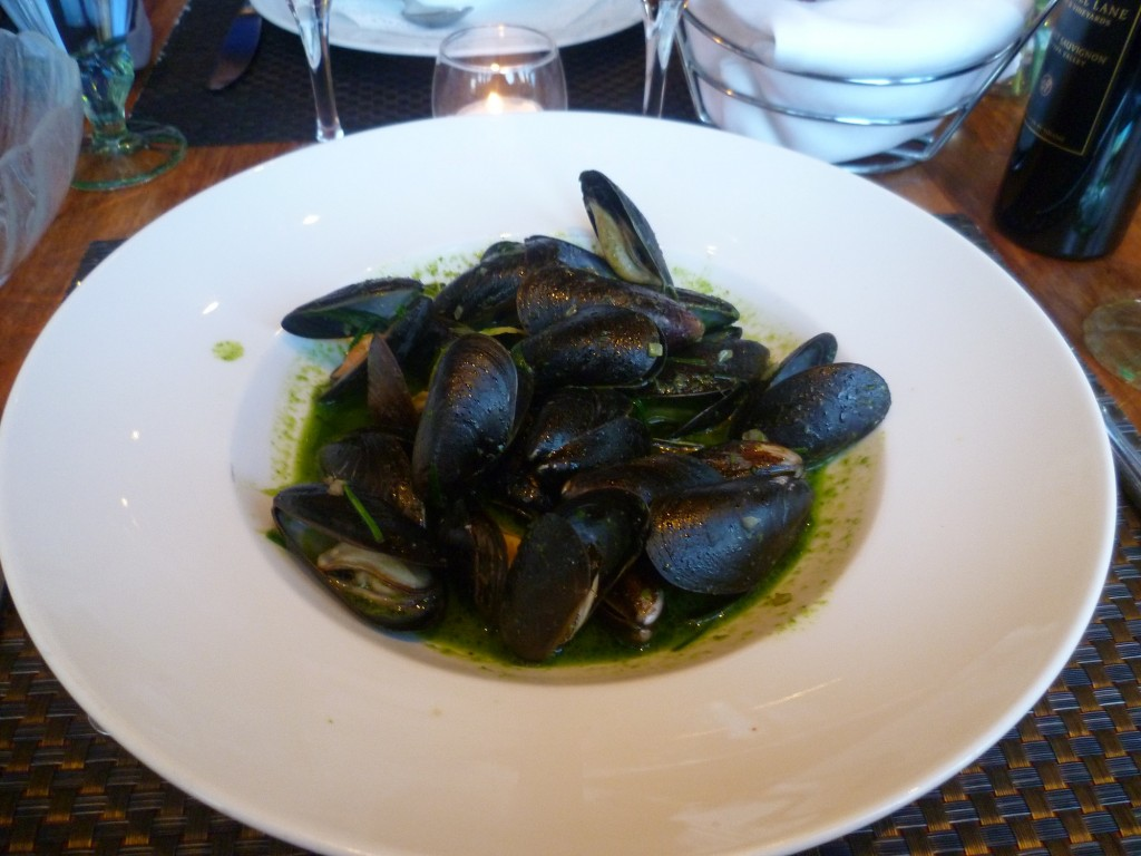 Prince Edward Island Mussels in three herb broth with white wine