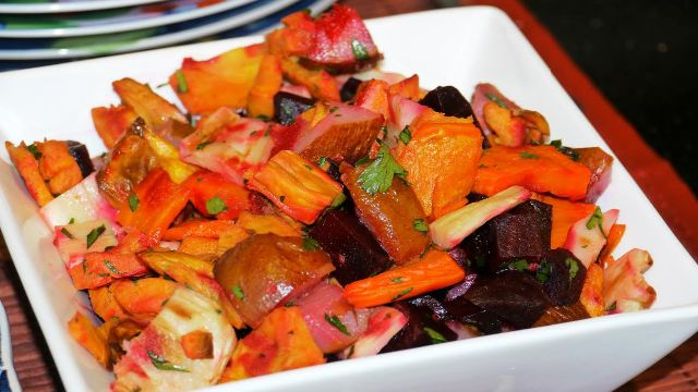 roasted root holiday medley recipe from myong gourmet, mount kisco