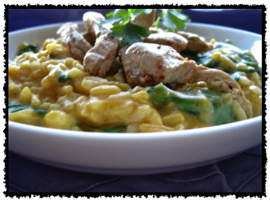 Risotto topped with Gardein