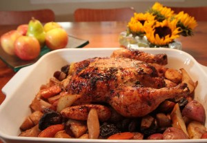 Avril Kaye's Roast Chicken with Fall Vegetables, Fruits and Honey