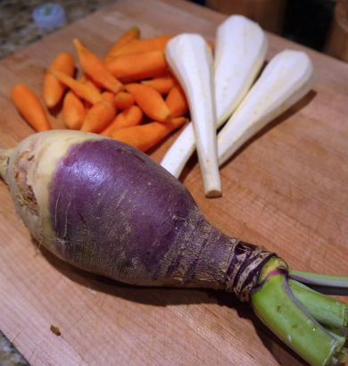 rutabaga, carrot and parsnip