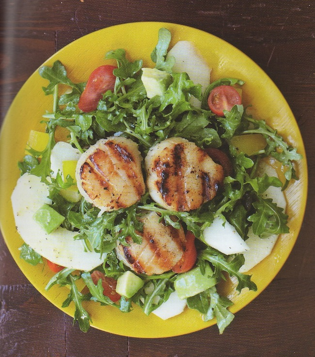 Grilled Sea Scallops with Avocado and Apple Salad