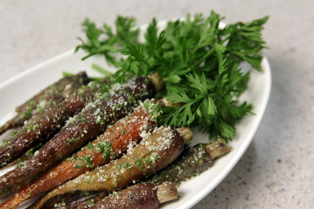 Roasted Carrots with Carrot Top Pesto, Seasonal Chef, Maria Reina
