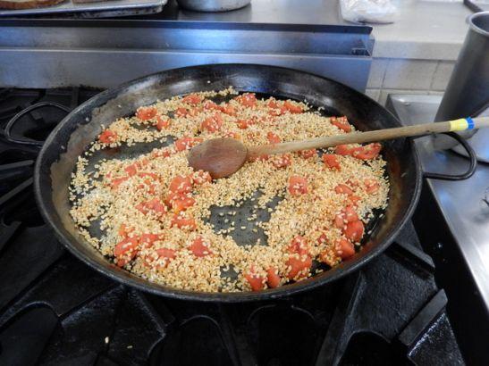 making paella at CIA