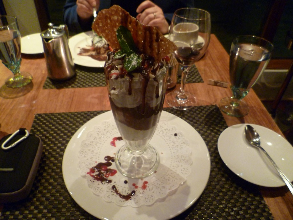 Old Fashion Ice Cream Sundae with Jane's Hudson Valley Coconut Almond Joy Ice Cream, homemade whipped cream and chocolate sauce